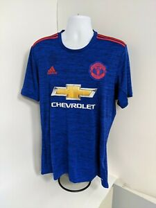 THE RED DEVILS T-SHIRT SIZE L BLUE CHEVROLET MANCHESTER UNITED ADIDAS