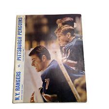 1969 NHL Program New York Rangers vs Pittsburgh Penguins Madison Square Garden