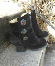 John Fluevog Babycake Boots 7.5 Steampunk Victorian Black Leather HARD TO FIND