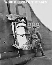 USAAF WW2 B-17 Bomber Tail Damage 8x10 Photo 96th BG RAF Snetterton Heath WWII