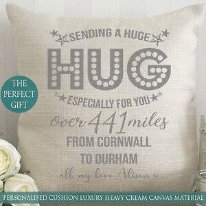 Personalised Hug Cushion Miss You Gift Isolation Present Christmas Nanny Mom Dad