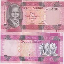 SUDAN del Sud /SOUTH SUDAN 5 South Sudanese POUNDS P 6 2011 FDS / UNC