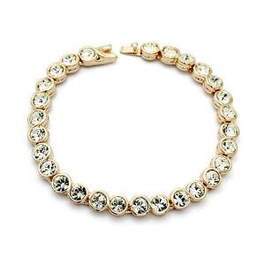Tennis Armband Armkette Bracelet Rosegold vergoldet 19 cm Kristalle Geschenk neu