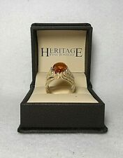 Sterling Silver Ring with Natural Amber Stone-Contemporary, Size 7.5