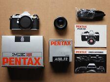 PENTAX ME SUPER 35MM CAMERA WITH PENTAX A50MM F2 LENS, STRAP & 2 MANUALS