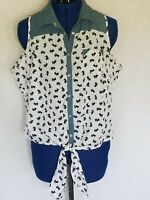 Prototype Jrs Top Sz XL Sleeveless Snap Up Rockabilly Festival Scotty Dogs Denim