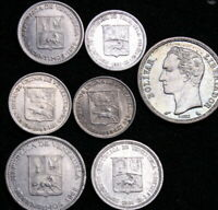 7x Old Coins Lot Venezuela (1944-1960s) Silver and Nickel  See Pictures 53.272