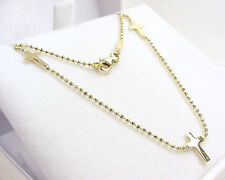 THREE CROSS CROSSES CHRISTIAN BEAD LINK NECKLACE 14K YELLOW GOLD 17.0  INCHES