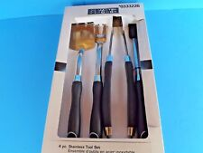 """NIB~ """"4 PIECE BBQ TOOL SET"""" HEAVY DUTY~ STAINLESS STEEL~ BY MASTER FORGE~NICE!"""