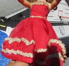 Little Miss Revlon Doll Clothing Dress Red Evening Gown Sheer 10.5 Ideal