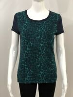 Ann Taylor Women's Top Knit Size M Short Sleeve Scoop Neck Animal Print Navy