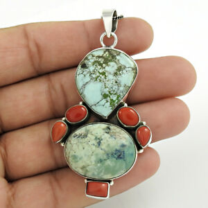 Oval Shape Turquoise Coral Gemstone Jewelry 925 Sterling Silver Pendant E106