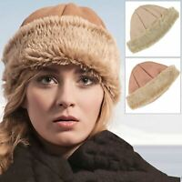 New Pia Rossini Ladies Cossack Hat Faux Sheepskin / Suede & Fur Camel Or Tan