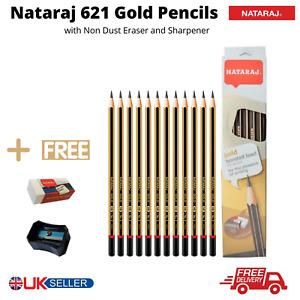 NATARAJ Gold HB Writing Pencil + Free Sharpener & Eraser