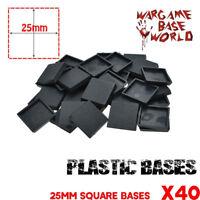 40pcs x 25mm Plastic Square Bases Bases for Wargames - Miniatures Model Figures