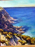 Original Australian Landscape Oil Painting of cliffs ocean