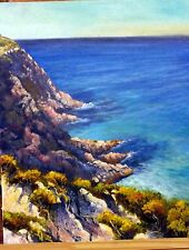 Original Australian Landscape Oil Painting of cliffs ocean