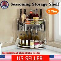 2 Tier Stainless Steel Kitchen Seasoning Storage Rack Spice Organizer Shelf Tool
