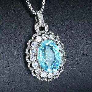 "Blue Topaz & Diamond 18K White Gold Over Pendant 18"" Chain Necklace For Women's"