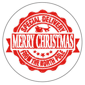 70 x NORTH POLE SPECIAL DELIVERY Christmas Stickers Seal Stamp Effect Label 1035