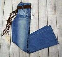 Lazer Jeans Women Bootcut Flare Jean Pants Denim Blue Faded Stretch Size 5 +Belt