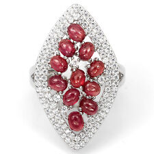 GORGEOUS NATURAL GEM TOP RICH RED RUBY-WHITE CZ STERLING 925 SILVER RING SIZE 8