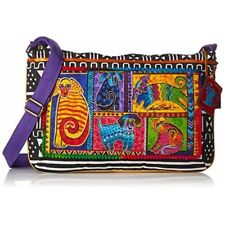 "Laurel Burch Medium Crossbody Zipper Top 15""x10""-dog Tails Patchwork"