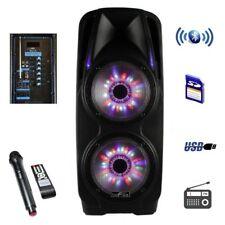 "beFree Sound 4000W 2x10"" Portable Bluetooth Powered PA DJ Speaker w Mic & Lights"