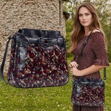 Nwt 🌺 Patricia Nash Leather Antilly Crossbody Black & Burgundy Scarlet Blooms