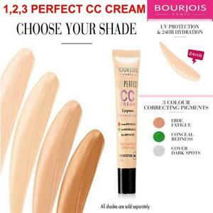 BOURJOIS 123 Perfect CC Cream Foundation Face Skin 24HR Hydration *ALL SHADES*