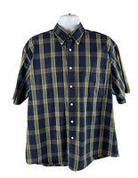 Nautica Mens Large L Shirt Button Down Green Brown Plaid Short Sleeve Cotton