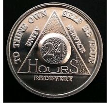 AA 24 HOURS RECOVERY CHIP ALUMINIUM  Alcoholics Anonymous UK SOBER COIN