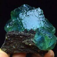 197g Translucent Deep Blue Green Cubic Ladder Fluorite Crystal Mineral Specimen