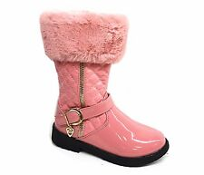 New girls patent pom pom bow faux fur warm nice boots in black and pink, red