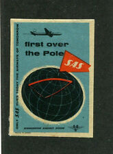 Vintage Airline Poster Stamp Label SAS 1st over the pole Scandinavian Airlines
