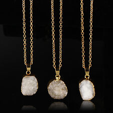 New Natural Druzy Rock Crystal Pendant Necklace Quartz Clusters Geode Stone Gems