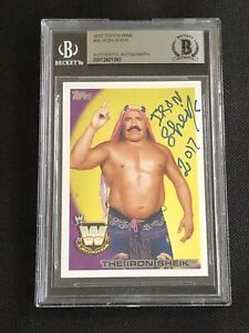 THE IRON SHEIK 2010 TOPPS WWE SIGNED AUTOGRAPHED CARD #95 BECKETT BAS AUTHENTIC