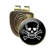SKUL AND CROSSBONES FUSION CAP CLIP & MAGNETIC GOLF BALL MARKER IN BRONZE