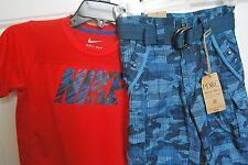 Blue Camouflage  Shorts & Orange NIKE AirDri Top Shirt Size Boys 4