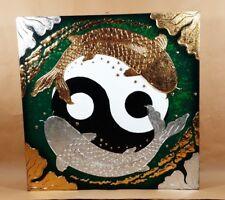 Tableau Carpe Koï Ying Yang Vert et Or / Argent - 60x60 - TB032