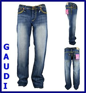 jeans gaudi da donna pantaloni a vita bassa gamba dritta svasati denim 50 54