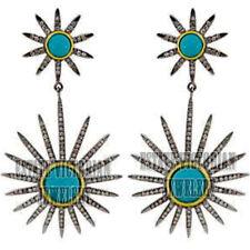 Turquoise Studded Silver Earring Jewelry Artdeco Estate 3.11Cts Rose Cut Diamond