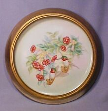 Hand Painted Original Signed Hummingbird Framed Porcelain Plate - Gorgeous!