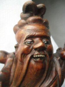 Antique Vintage Carved Wood Figure with Glass Eyes & Teeth