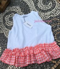 Zara White Pink Gingham Top Checked Small S 8 Ruffled T Shirt New BNWT