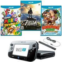 Nintendo Wii U Console 32GB Bundle Set Mario 3D World + Donkey Kong + Zelda Wild