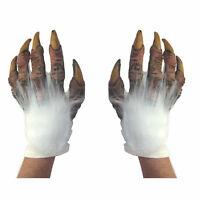 White Vampire Abdonimal Yeti Beast Hands Scary Adult Halloween Costume Gloves