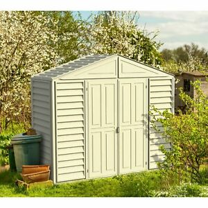 DuraMax 10.5ft x 3ft SidePro Vinyl Shed with Foundation Kit