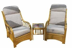 Sorrento Cane Conservatory Furniture Duo Set- 2 Chairs and a Side Table-'Cream'