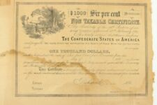 1864 CSA $1000 , 6% Certificate NEVER USED